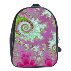 Raspberry Lime Surprise, Abstract Sea Garden  School Bag (large) by DianeClancy