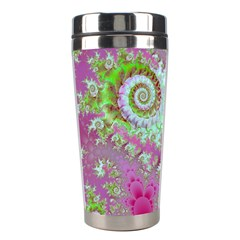 Raspberry Lime Surprise, Abstract Sea Garden  Stainless Steel Travel Tumbler by DianeClancy