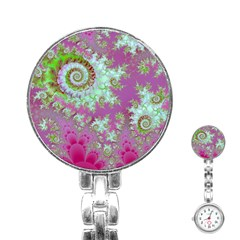 Raspberry Lime Surprise, Abstract Sea Garden  Stainless Steel Nurses Watch