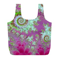 Raspberry Lime Surprise, Abstract Sea Garden  Reusable Bag (l) by DianeClancy