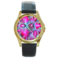 Ruby Red Crystal Palace, Abstract Jewels Round Leather Watch (gold Rim)  by DianeClancy