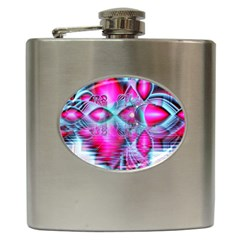 Ruby Red Crystal Palace, Abstract Jewels Hip Flask