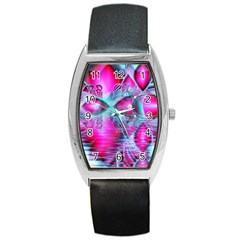 Ruby Red Crystal Palace, Abstract Jewels Tonneau Leather Watch by DianeClancy