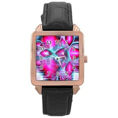 Ruby Red Crystal Palace, Abstract Jewels Rose Gold Leather Watch