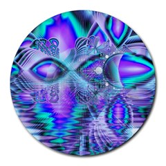 Peacock Crystal Palace Of Dreams, Abstract 8  Mouse Pad (round) by DianeClancy
