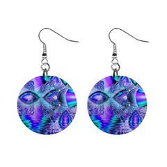 Peacock Crystal Palace Of Dreams, Abstract Mini Button Earrings by DianeClancy