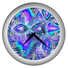 Peacock Crystal Palace Of Dreams, Abstract Wall Clock (silver) by DianeClancy