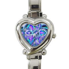 Peacock Crystal Palace Of Dreams, Abstract Heart Italian Charm Watch  by DianeClancy
