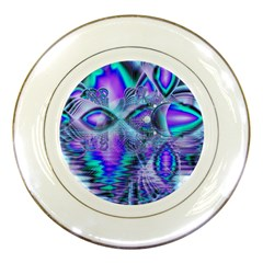 Peacock Crystal Palace Of Dreams, Abstract Porcelain Display Plate by DianeClancy