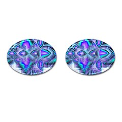 Peacock Crystal Palace Of Dreams, Abstract Cufflinks (oval) by DianeClancy