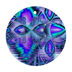 Peacock Crystal Palace Of Dreams, Abstract Round Ornament (two Sides) by DianeClancy