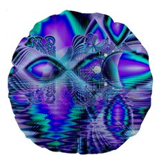 Peacock Crystal Palace Of Dreams, Abstract 18  Premium Round Cushion  by DianeClancy