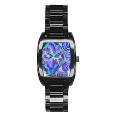Peacock Crystal Palace Of Dreams, Abstract Stainless Steel Barrel Watch by DianeClancy