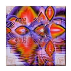 Crystal Star Dance, Abstract Purple Orange Ceramic Tile by DianeClancy