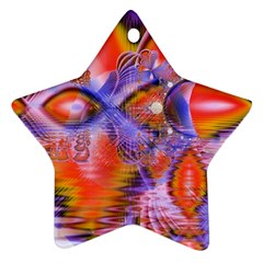 Crystal Star Dance, Abstract Purple Orange Star Ornament by DianeClancy