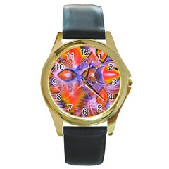 Crystal Star Dance, Abstract Purple Orange Round Leather Watch (gold Rim)  by DianeClancy