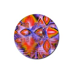 Crystal Star Dance, Abstract Purple Orange Drink Coasters 4 Pack (round) by DianeClancy