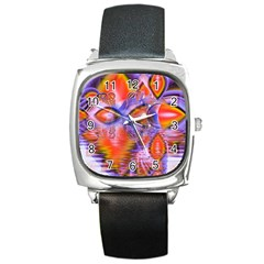 Crystal Star Dance, Abstract Purple Orange Square Leather Watch by DianeClancy
