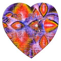 Crystal Star Dance, Abstract Purple Orange Jigsaw Puzzle (heart) by DianeClancy