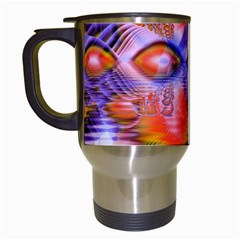 Crystal Star Dance, Abstract Purple Orange Travel Mug (white) by DianeClancy