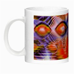 Crystal Star Dance, Abstract Purple Orange Glow In The Dark Mug by DianeClancy