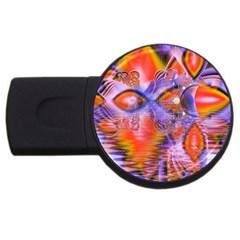 Crystal Star Dance, Abstract Purple Orange 4gb Usb Flash Drive (round) by DianeClancy