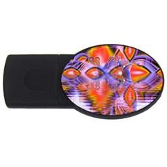 Crystal Star Dance, Abstract Purple Orange 4gb Usb Flash Drive (oval) by DianeClancy