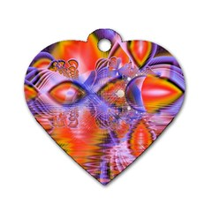 Crystal Star Dance, Abstract Purple Orange Dog Tag Heart (two Sided) by DianeClancy