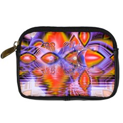 Crystal Star Dance, Abstract Purple Orange Digital Camera Leather Case by DianeClancy