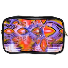 Crystal Star Dance, Abstract Purple Orange Travel Toiletry Bag (one Side) by DianeClancy