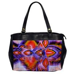 Crystal Star Dance, Abstract Purple Orange Oversize Office Handbag (one Side) by DianeClancy