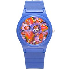Crystal Star Dance, Abstract Purple Orange Plastic Sport Watch (small) by DianeClancy