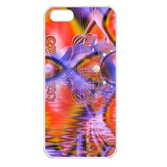 Crystal Star Dance, Abstract Purple Orange Apple Iphone 5 Seamless Case (white) by DianeClancy