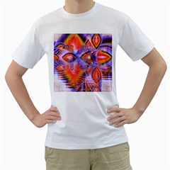 Crystal Star Dance, Abstract Purple Orange Men s T Shirt (white)  by DianeClancy