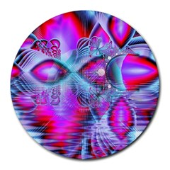Crystal Northern Lights Palace, Abstract Ice  8  Mouse Pad (round) by DianeClancy