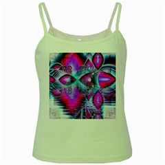 Crystal Northern Lights Palace, Abstract Ice  Green Spaghetti Tank by DianeClancy