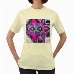 Crystal Northern Lights Palace, Abstract Ice  Women s T Shirt (yellow) by DianeClancy