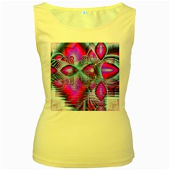 Crystal Northern Lights Palace, Abstract Ice  Women s Tank Top (yellow) by DianeClancy
