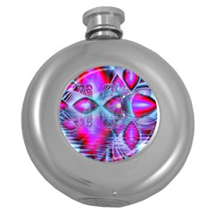 Crystal Northern Lights Palace, Abstract Ice  Hip Flask (round) by DianeClancy
