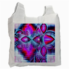 Crystal Northern Lights Palace, Abstract Ice  White Reusable Bag (one Side) by DianeClancy