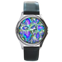 Abstract Peacock Celebration, Golden Violet Teal Round Leather Watch (silver Rim) by DianeClancy