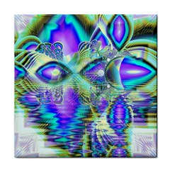 Abstract Peacock Celebration, Golden Violet Teal Ceramic Tile by DianeClancy