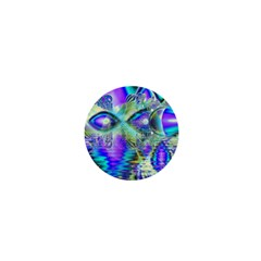 Abstract Peacock Celebration, Golden Violet Teal 1  Mini Button by DianeClancy