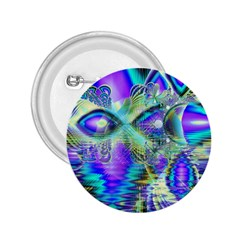 Abstract Peacock Celebration, Golden Violet Teal 2.25  Button by DianeClancy