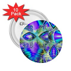 Abstract Peacock Celebration, Golden Violet Teal 2 25  Button (10 Pack) by DianeClancy