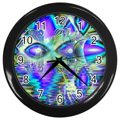 Abstract Peacock Celebration, Golden Violet Teal Wall Clock (black) by DianeClancy