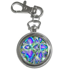 Abstract Peacock Celebration, Golden Violet Teal Key Chain Watch by DianeClancy