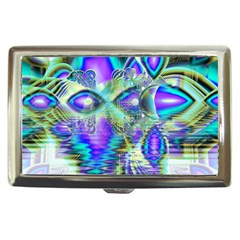 Abstract Peacock Celebration, Golden Violet Teal Cigarette Money Case by DianeClancy