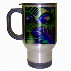 Abstract Peacock Celebration, Golden Violet Teal Travel Mug (silver Gray) by DianeClancy