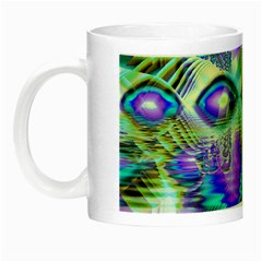 Abstract Peacock Celebration, Golden Violet Teal Glow In The Dark Mug by DianeClancy